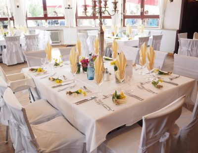 table set up for private catering service