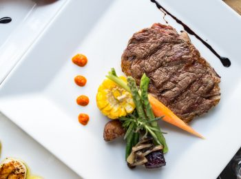 steak and vegetables on a white plate